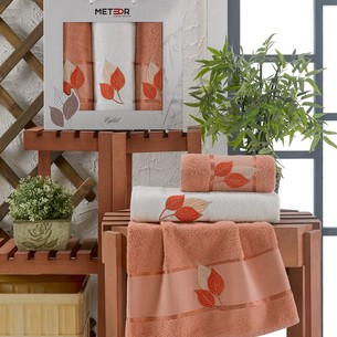 Подарочный набор полотенец для ванной 50х90(2), 70х140(1) Meteor EYLUL хлопковая махра персиковый