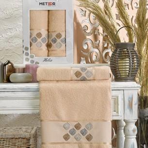 Подарочный набор полотенец для ванной 50х90, 70х140 Meteor HELIX хлопковая махра бежевый