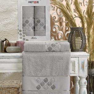 Подарочный набор полотенец для ванной 50х90, 70х140 Meteor HELIX хлопковая махра серый