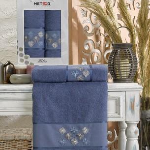 Подарочный набор полотенец для ванной 50х90, 70х140 Meteor HELIX хлопковая махра тёмно-голубой