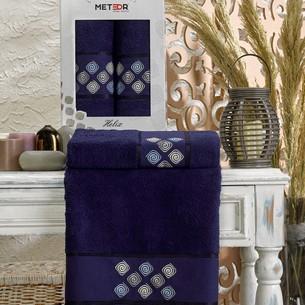 Подарочный набор полотенец для ванной 50х90, 70х140 Meteor HELIX хлопковая махра синий