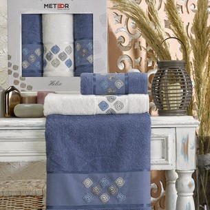 Подарочный набор полотенец для ванной 50х90(2), 70х140(1) Meteor HELIX хлопковая махра тёмно-голубой