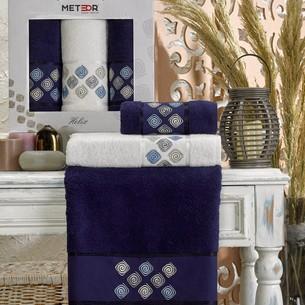 Подарочный набор полотенец для ванной 50х90(2), 70х140(1) Meteor HELIX хлопковая махра синий
