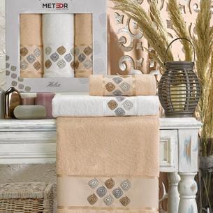 Подарочный набор полотенец для ванной 50х90(2), 70х140(1) Meteor HELIX хлопковая махра бежевый