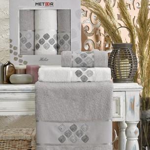 Подарочный набор полотенец для ванной 50х90(2), 70х140(1) Meteor HELIX хлопковая махра серый