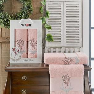 Подарочный набор полотенец для ванной 50х90, 70х140 Meteor LADY ROSE хлопковая махра розовый