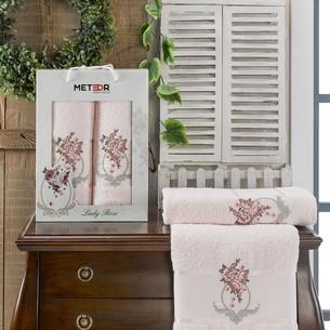 Подарочный набор полотенец для ванной 50х90, 70х140 Meteor LADY ROSE хлопковая махра пудра
