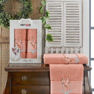 Подарочный набор полотенец для ванной 50х90, 70х140 Meteor LADY ROSE хлопковая махра персиковый