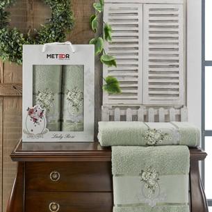 Подарочный набор полотенец для ванной 50х90, 70х140 Meteor LADY ROSE хлопковая махра зелёный