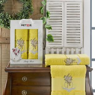 Подарочный набор полотенец для ванной 50х90, 70х140 Meteor LADY ROSE хлопковая махра светло-зелёный