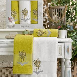 Подарочный набор полотенец для ванной 50х90(2), 70х140(1) Meteor ECE хлопковая махра светло-зелёный
