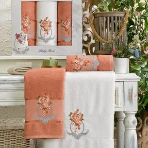 Подарочный набор полотенец для ванной 50х90(2), 70х140(1) Meteor ECE хлопковая махра персиковый
