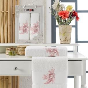 Подарочный набор полотенец для ванной 50х90, 70х140 Meteor NARIN хлопковая махра кремовый