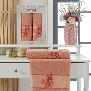 Подарочный набор полотенец для ванной 50х90, 70х140 Meteor NARIN хлопковая махра персиковый