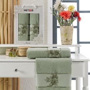Подарочный набор полотенец для ванной 50х90, 70х140 Meteor NARIN хлопковая махра зелёный