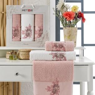 Подарочный набор полотенец для ванной 50х90, 70х140 Meteor NARIN хлопковая махра розовый