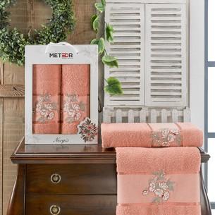 Подарочный набор полотенец для ванной 50х90, 70х140 Meteor NERGIS хлопковая махра персиковый