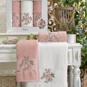 Подарочный набор полотенец для ванной 50х90, 70х140 Meteor NERGIS хлопковая махра розовый