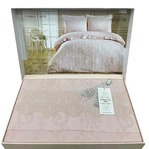 Постельное белье Maison Dor MIRABELLE DANTEL хлопковый сатин-жаккард грязно-розовый евро