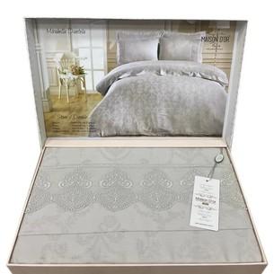 Постельное белье Maison Dor MIRABELLE DANTEL хлопковый сатин-жаккард серый евро