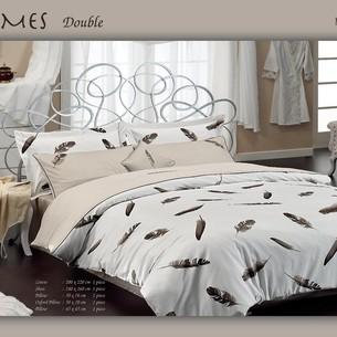 Постельное белье Maison Dor PLUMES хлопковый сатин бежевый 1,5 спальный