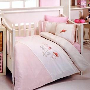 Детское постельное белье в кроватку Maison Dor LOVE BABY хлопковый сатин розовый