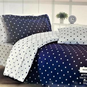 Постельное белье Maison Dor STARS хлопковый сатин синий 1,5 спальный