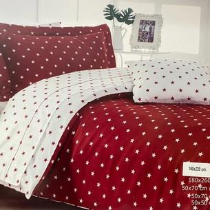 Постельное белье Maison Dor STARS хлопковый сатин красный 1,5 спальный