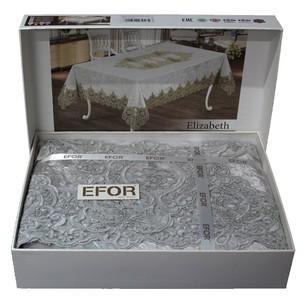 Скатерть прямоугольная Efor ELIZABETH велюр серый 160х220
