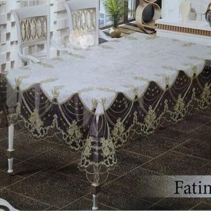 Скатерть прямоугольная Efor FATIMA велюр кремовый 160х220