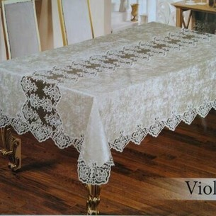 Скатерть прямоугольная Efor VIOLETTA велюр кремовый 160х350
