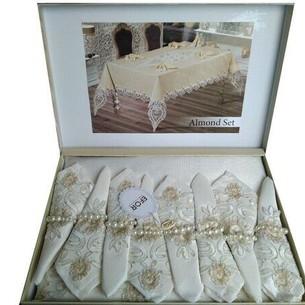 Скатерть прямоугольная с салфетками, кольцами Efor ALMOND SET жаккард кремовый 160х220
