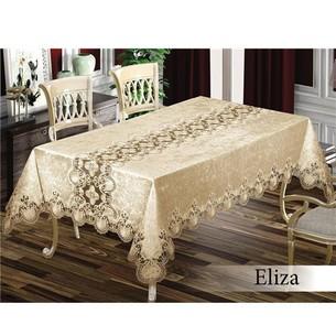 Скатерть прямоугольная с салфетками, кольцами Efor ELIZA SET велюр капучино 160х350