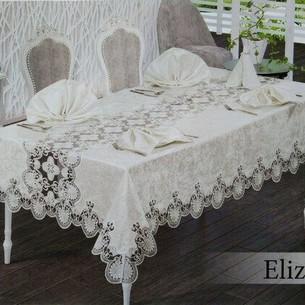 Скатерть прямоугольная с салфетками, кольцами Efor ELIZA SET велюр кремовый 160х350