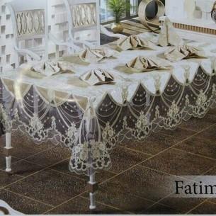 Скатерть прямоугольная с салфетками, кольцами Efor FATIMA велюр кремовый 160х220