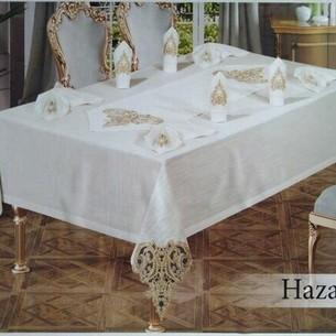 Скатерть прямоугольная с салфетками, кольцами Efor HAZAL жаккард кремовый 160х300