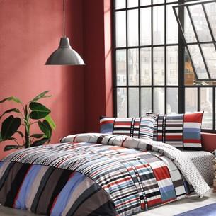 Комплект подросткового постельного белья TAC FOSTER хлопковый ранфорс голубой евро
