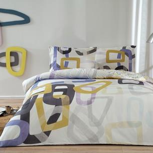 Комплект подросткового постельного белья TAC FEUR хлопковый ранфорс кремовый+лиловый евро