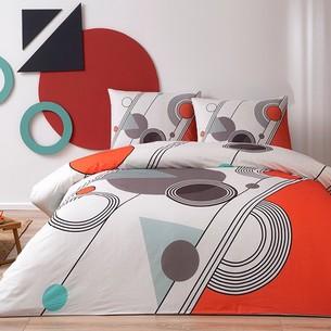Комплект подросткового постельного белья TAC FELIX хлопковый ранфорс красный евро