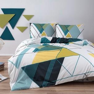 Комплект подросткового постельного белья TAC CAPEL хлопковый ранфорс бирюзовый евро
