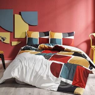 Комплект подросткового постельного белья TAC LOE хлопковый ранфорс серый+бежевый евро