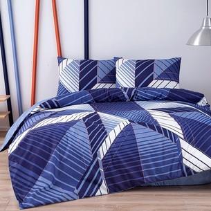 Комплект подросткового постельного белья TAC SILVA хлопковый ранфорс синий евро