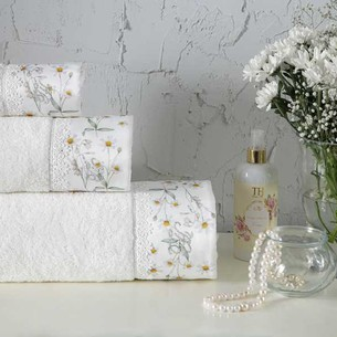 Подарочный набор полотенец-салфеток 30х50 см (2 шт.) Tivolyo Home DAISY хлопковая махра кремовый