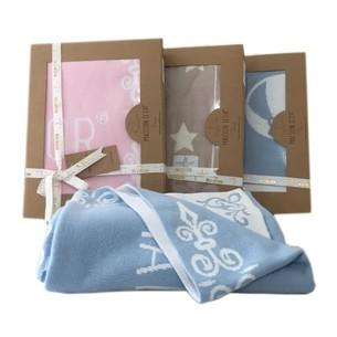 Плед детский для новорожденных Maison Dor JUNIOR хлопок голубой+белый 70х90