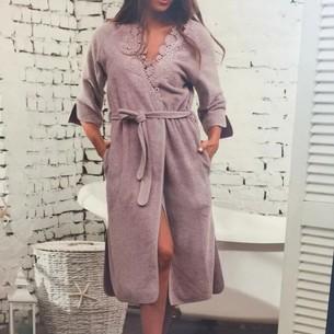 Халат женский Maison Dor ADELYNN бамбуко-хлопковая махра грязно-розовый S