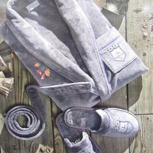Халат мужской с тапочками Maison Dor BOSWELL хлопковая махра кремовый XL