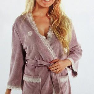 Халат женский Maison Dor CELYN бамбуко-хлопковая махра фиолетовый L