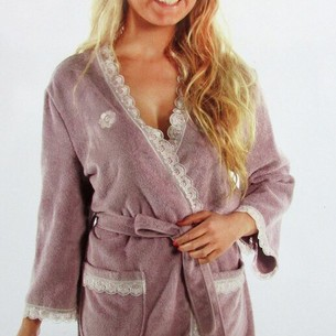 Халат женский Maison Dor CELYN бамбуко-хлопковая махра грязно-розовый L