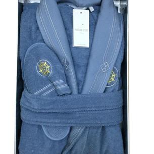 Халат мужской с тапочками Maison Dor ELEGANCE хлопковая махра голубой XL