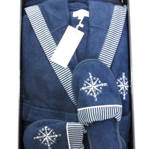 Халат мужской с тапочками Maison Dor MARINE KAPSONLU хлопковая махра синий XL